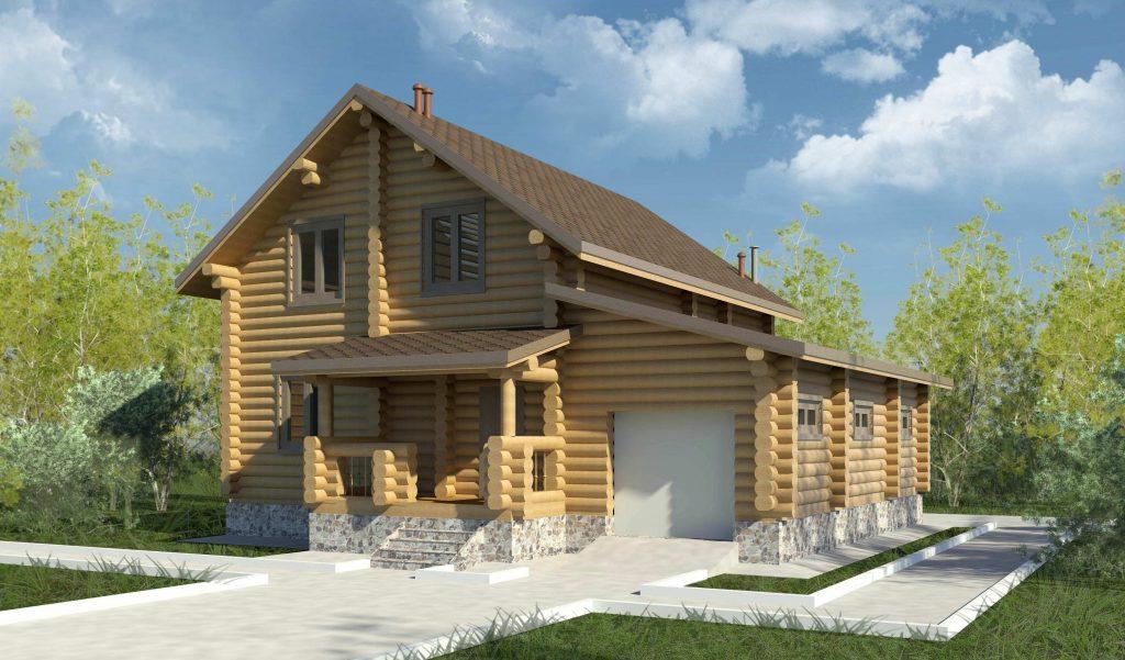 Проект дома из бревна с гаражом
