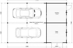 Планировка гаража с хозблоком