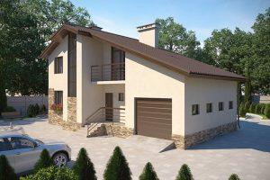Проект дома из газоблоков (с гаражом)