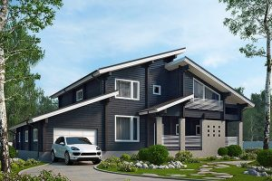 Проект дома из клееного бруса с гаражом