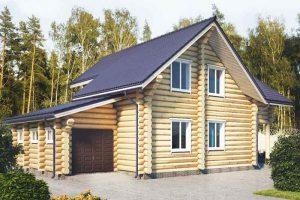 Бревенчатый домик с гаражом