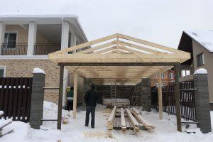 Монтаж стропильной системы гаража