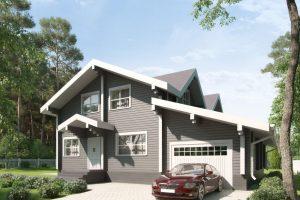 Дом из клееного бруса с гаражом