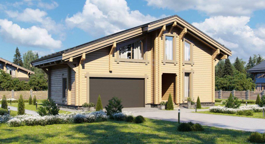 Проект дома из бруса с гаражом