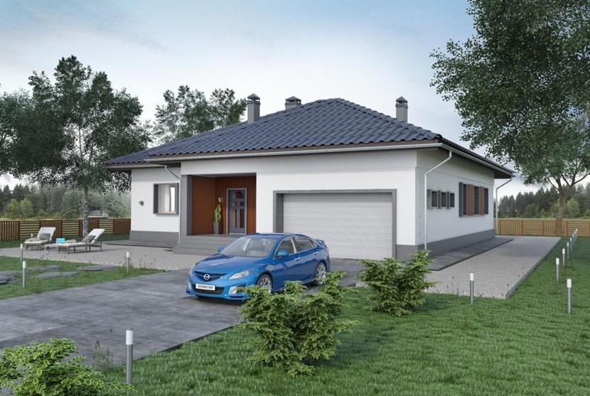 Одноэтажный дом из газоблока с гаражом