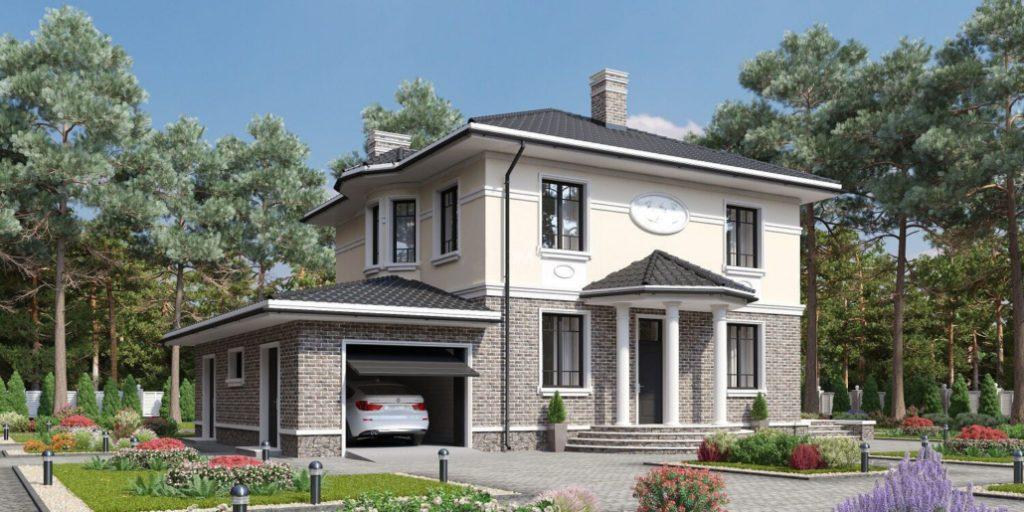 Проект дома из газосиликата с гаражом