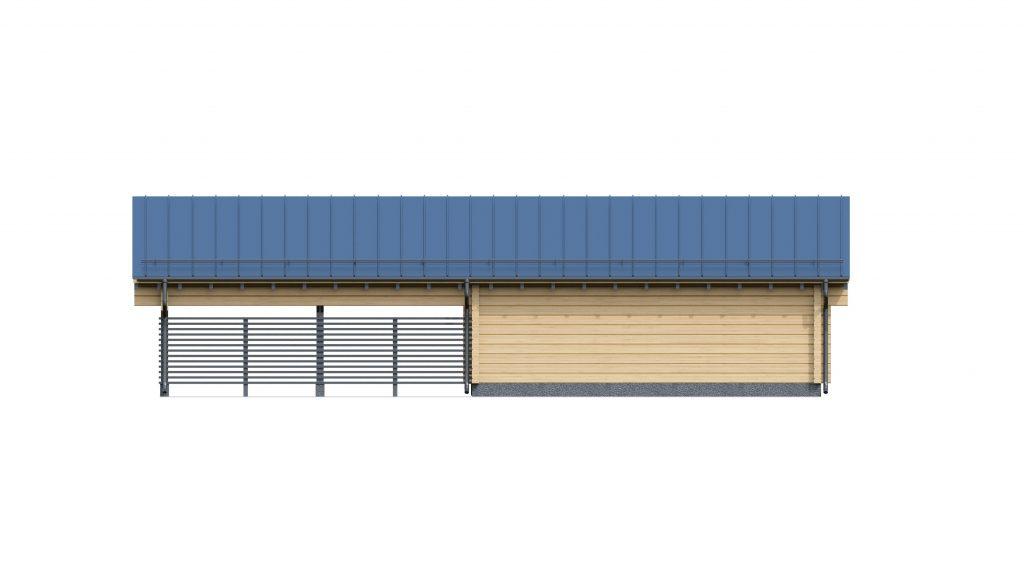 Фасад гаража из клееного бруса