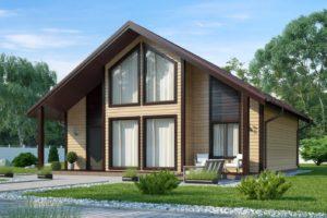 Проект каркасного дома с большими окнами