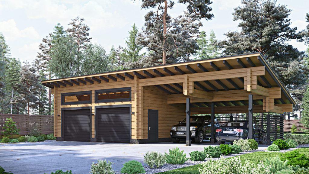 Проект гаража из клееного бруса