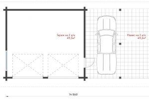 План гаража с навесом