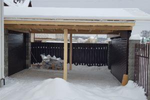 Строительство гаража с навесом