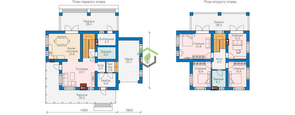 Планировка дома по проекту 57-95