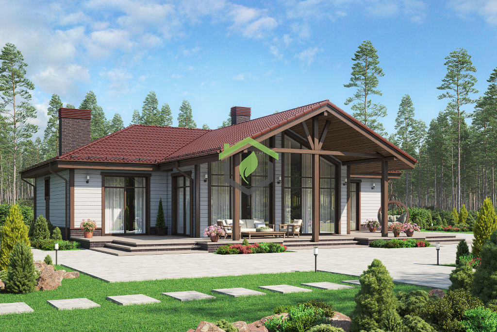 Одноэтажный загородный дом из газобетона 62-64