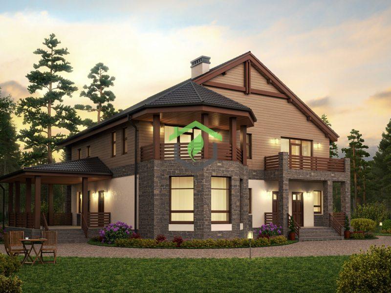 Визуализация проекта загородного дома ДГ-57-34 из газобетона