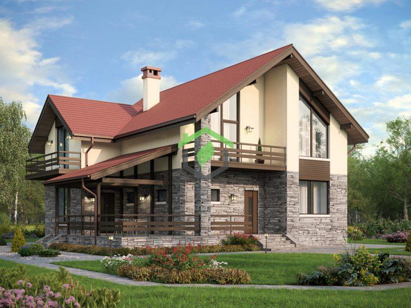 Проект частного дома из газосиликатных блоков 57-55