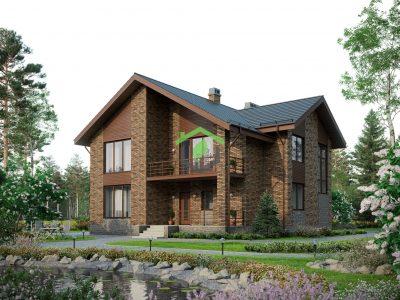 Загородный дом из газобетона 57-58L