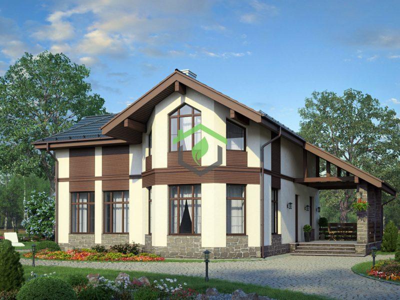Загородный дом в классическом стиле по проекту ДГ-57-79 (газобетонные блоки)