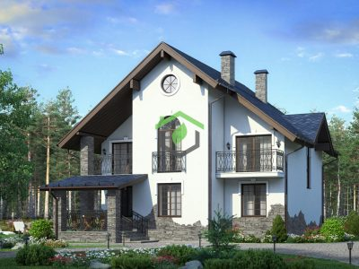 Загородный дом из газобетона 58-34
