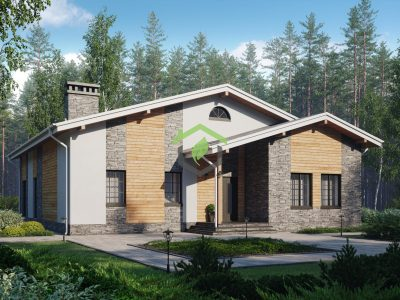 Одноэтажный дом из газобетона ДГ-58-70ZB