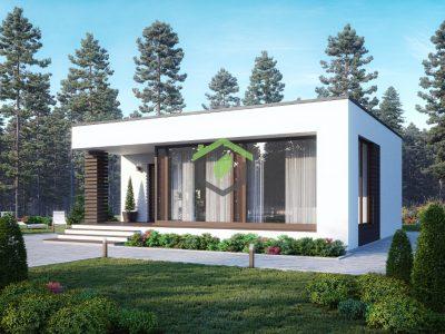 Проект одноэтажного дома с плоской крышей 90-94 из газобетона