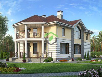 Двухэтажный дом из газобетонных блоков 57-15