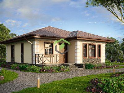 Проект одноэтажного загородного дома из газоблока 57-37А