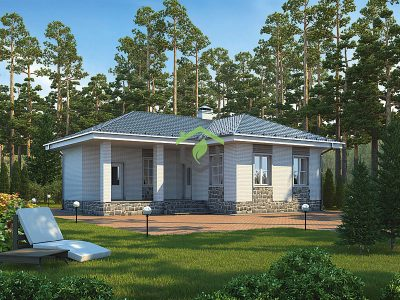 Визуализация проекта одноэтажного дома из газобетона ДГ-57-40