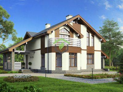 Проект дома из газобетонных блоков ДГ-57-43