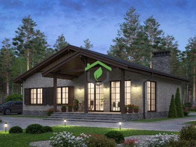 Визуализация проекта 58-70В загородного дома из газобетона