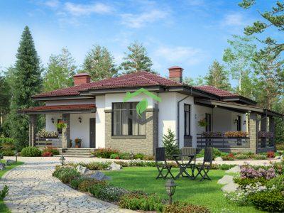Одноэтажный дом из газобетона по проекту 62-05