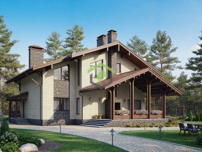 Загородный дом по проекту 62-15D (газобетонные блоки)